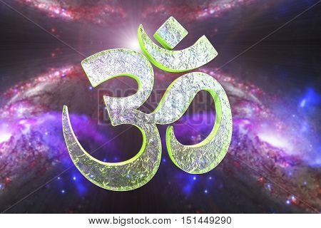 Hindu word reading Om or Aum symbol on space background, 3D illustration. It is a spiritual icon and a sacred sound in Indian religions, a mantra in Hinduism, Buddhism and Jainism