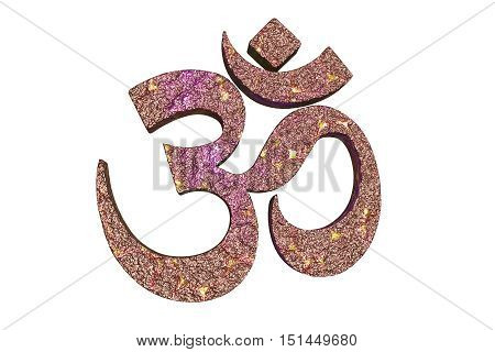 Hindu word reading Om or Aum symbol, 3D illustration. It is a spiritual icon and a sacred sound in Indian religions, a mantra in Hinduism, Buddhism and Jainism