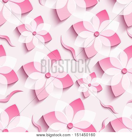 Light trendy background seamless pattern with pink 3d flower sakura - japanese cherry tree and leaf cutting paper. Floral stylish modern wallpaper. Vector illustration