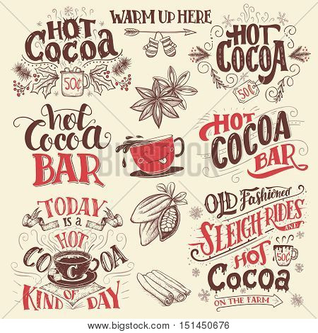 Hot Cocoa Hand Lettering Signboards Set