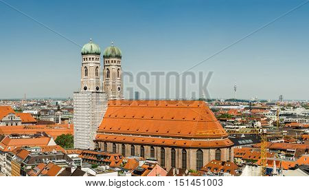 The Frauenkirche or Munich Cathedral is a church in the Bavarian city of Munich Germany. It is a landmark and is considered a symbol of the Bavarian capital city.