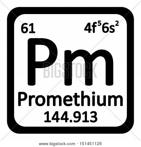 Periodic table element promethium icon on white background. Vector illustration.