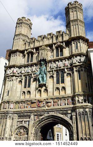 Entrance to Canterbury Cathedral Kent england uk