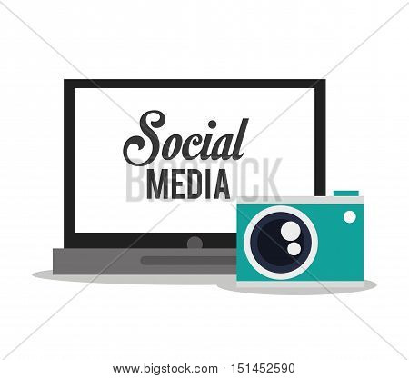 Laptop and camera icon. Social media multimedia communcation and digital marketing theme. Colorful design. Vector illustration poster