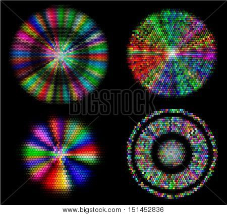 Abstract glowing objects of mosaic tiles and cubes with spectral rays. Four abstract circular objects with colorful beams