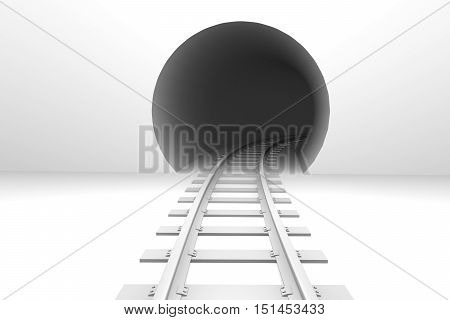 Railroad Entering Into The Tunnel