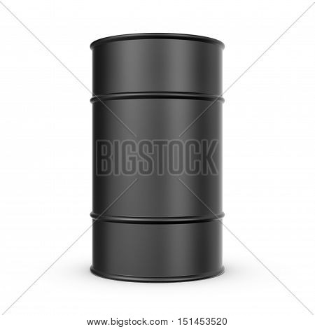 3d rendering of black barrel isolated on a white background. Petroleum recourses. Oil production. Fabrication of gasoline.
