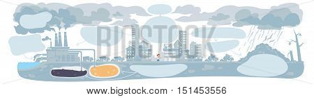 urban ecology concept or background with cityscape and smoke clouds.infographic template