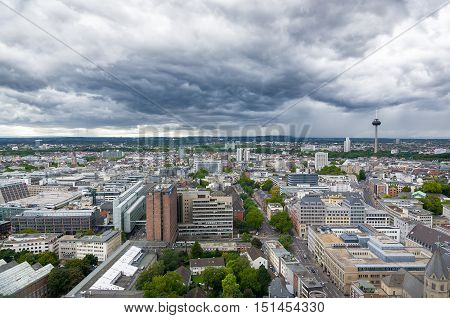 Aerial View Of Cologne From The Viewpoint Of Cologne Cathedral.