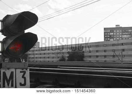 Semaphore On Empty Railway In Summer Day Black And White