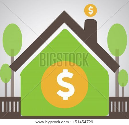 Home Money Saving Illustration Vector Flat - Money Coin Safe Into Home Stock -