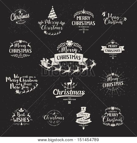 Merry Christmas lettering typography. Handwriting text design with winter holidays calligraphy. Happy New Year greeting card decoration on black background. Abstract vintage vector set.
