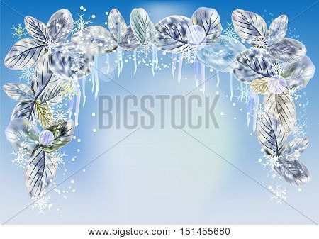 Winter background with icicles, snowflakes and leaves. White and blue frozen leaves with snowballs, icicles and snowflakes