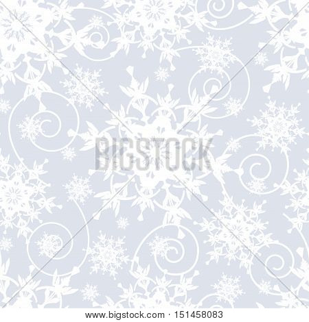 Winter grey background seamless pattern with white ornate stylized snowflakes and swirls. Seasonal light festive wallpaper for New Year and Christmas. Vector illustration.
