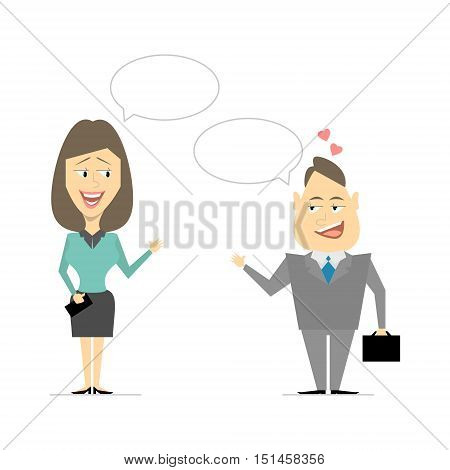 Speaking of men and women. Business meeting flirting. Cartoon vector