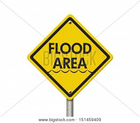 Yellow Warning Flood Area Highway Road Sign Red Yellow Warning Highway Sign with words Flood Area isolated on white 3D Illustration