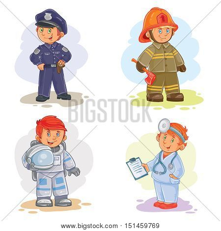 Set of vector icons of small children police, firefighter, astronaut, doctor