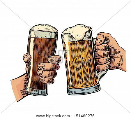 Two hands holding and clinking with two beer glasses mug. Vintage vector color engraving illustration for web, poster, invitation to beer party. Isolated on white background.