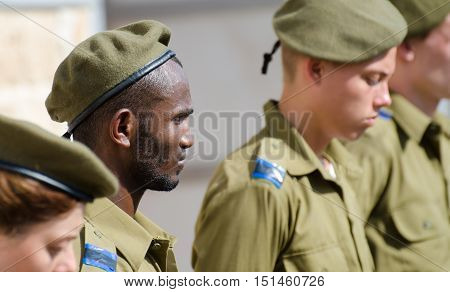 ACRE ISRAEL - APRIL 12 2013: Oath ceremony of Recruits of the Israel Defense Forces
