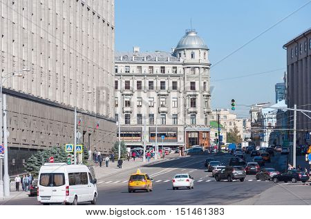 MOSCOW, RUSSIA - 21.09.2015. general view of Bolshaya Lubyanka street with a traffic