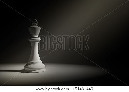 3D Rendering : Illustration of white king chess in a very dark room with light painting drop on a chess,leader concept,business success concept