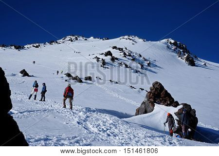 Hikers Walking On The Ascent