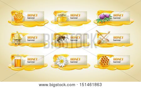 Set of sweet honeyed vector banners, headers.