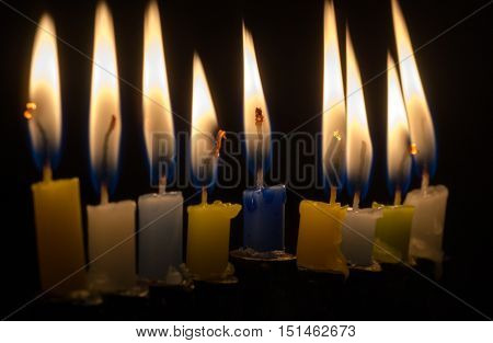 Hanukkah candles light. Hanukkah is a Jewish holiday