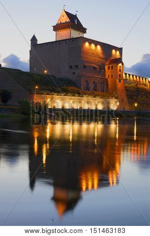 Herman's castle to white night closeup. Narva, Estonia