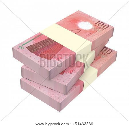 Maldivian rufiyaa bills isolated on white background. 3D illustration.