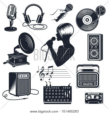 Karaoke elements monochrome vintage set including singing woman with microphone in hand audio equipment isolated vector illustration