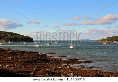 Harbor and boats at Bar Harbor Maine
