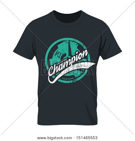 Modern fitness center tee print vector design isolated on dark background. Premium quality superior champion logo concept.  Threadbare iron barbell illustration. Shabby athletic club t-shirt mock up.