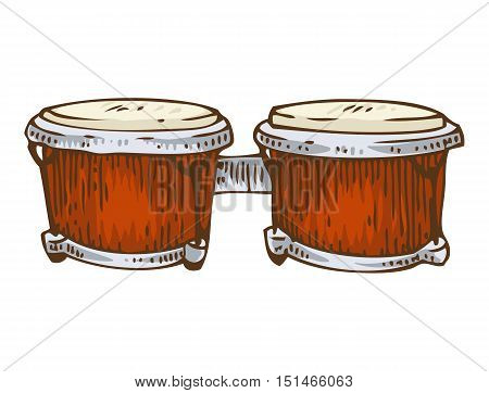 Musical Instrument. Red Bongo Isolated on a White Background