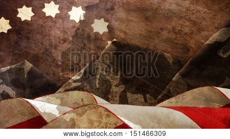 Veterans Day. Chart Flag Waves Mimetic Mountains and Stars poster