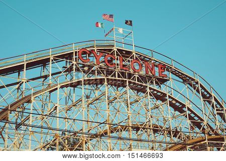 BROOKLYN NEW YORK - Historical landmark Cyclone roller coaster on July 2015 in the Coney Island section of Brooklyn. Cyclone is a historic wooden roller coaster opened on June 26 1927