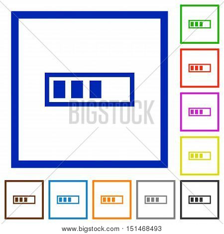 Set of color square framed Progressbar flat icons
