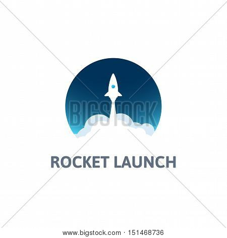 White rocket with cloud and blue sky, circle icon in flat style, conceptual of start up new business project, take off of a business or project or extraterrestrial travel vector illustration