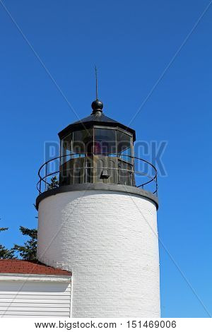 photo of the light on the Bass Harbor Lighthouse in Acadia National Park in Maine