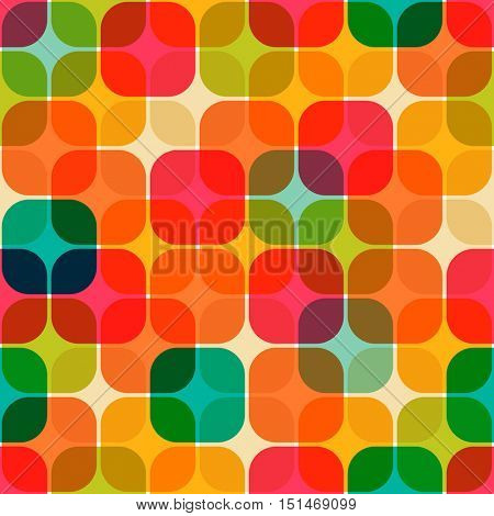 Retro geometrical seamless pattern Rounded squares pattern