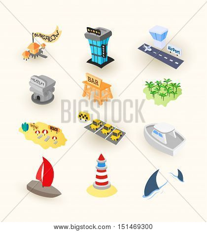 Vacation travel icons set, included airport, taxi and museum, tropical island beach with palm tree, hotel or bungalow, vector illustration