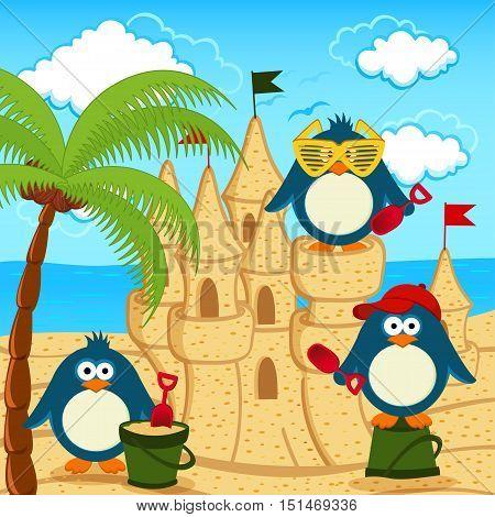 penguin built  sand castle on beach - vector illustration, eps