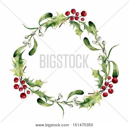 Watercolor christmas wreath with holly and mistletoe. Hand painted christmas floral border isolated on white background. Botanical illustration for design.