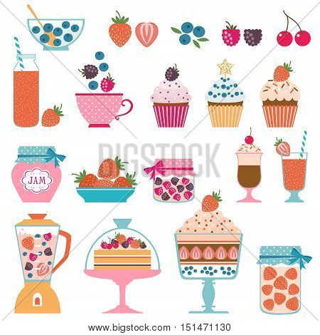 Set of berry sweets stuff isolated on white background.