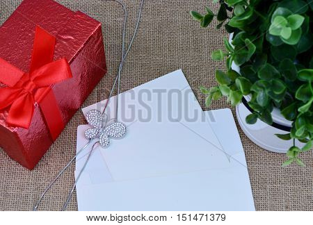 diamond butterfly necklace with empty greeting card