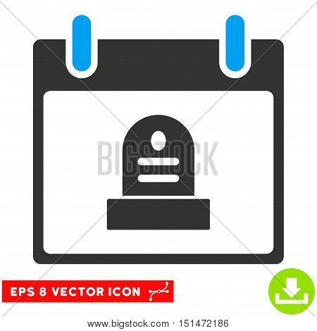 Rip Monument Calendar Day icon. Vector EPS illustration style is flat iconic bicolor symbol, blue and gray colors.