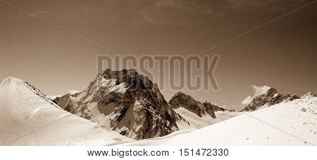 Panorama Of Winter Snow Mountains