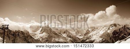 Panoramic View From Ski Resort In Winter Sun Day