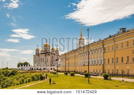 VLADIMIR RUSSIA - JUNE 7 2015: Dormition Cathedral or Assumption Cathedral and Bell tower in Vladimir Russia. UNESCO World Heritage Site