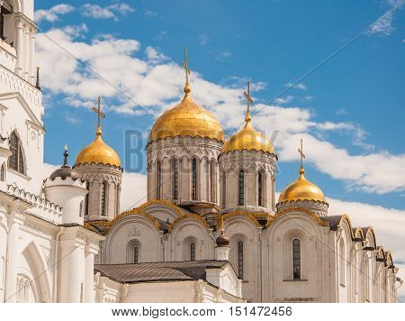 Dormition Cathedral or Assumption Cathedral and Bell tower in Vladimir Russia. UNESCO World Heritage Site.